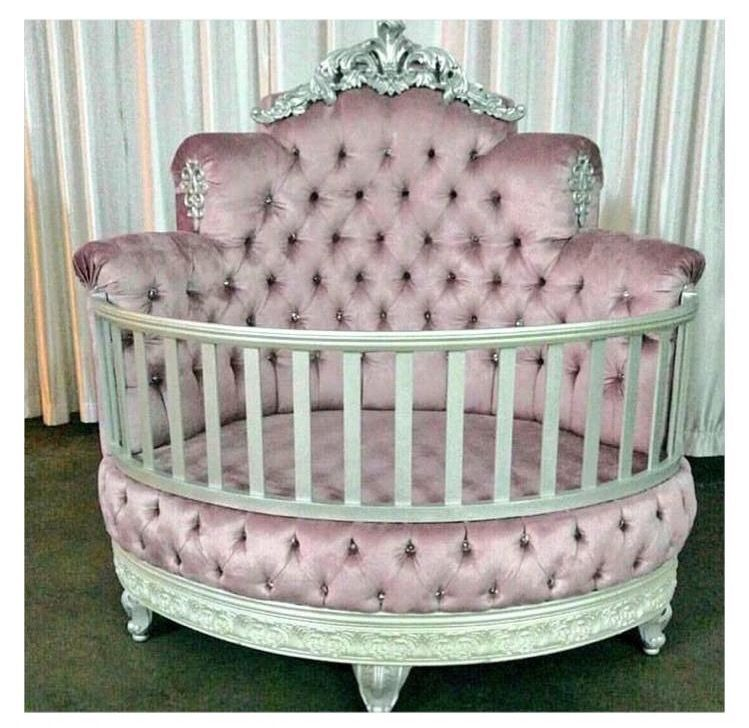 Round Pink Tufted Crib Luxury Baby Crib Baby Girl Room Baby Bed