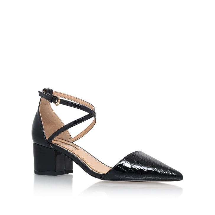 Ava Black Mid Heel Court Shoes By Miss KG