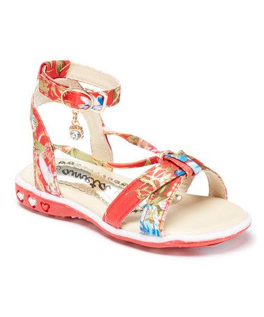 4c3bf3e98e56 Loving this Red   Gold Floral Charm Sandal on  zulily!  zulilyfinds ...