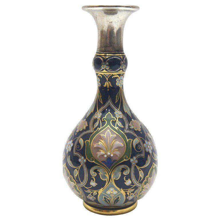 Meissen Porcelain Vase With Rich Pate Sur Pate And Enamel Painting In Cobaltblue Porcelain Vintage Porcelain Porcelain Vase