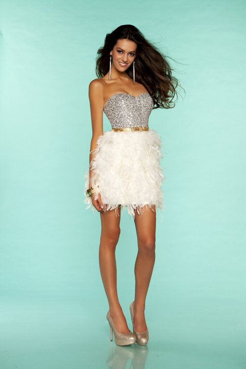 Ivory & Gold Sequin & Feather Strapless Short Homecoming Dress ...