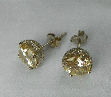 Synthetic Yellow Diamond Stud Earrings Handmade By Maggiemays On Artfire