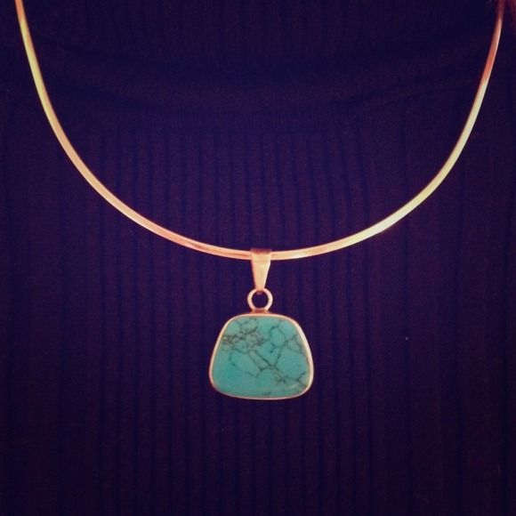 🎉Host Pick🎉 Sterling Turquoise Necklace. Gorgeous and unique. This sterling silver necklace is a hard band that seams to float around your neck. Turquoise stone. If interested, will tag you on another listing to show more details on band. Jewelry Necklaces