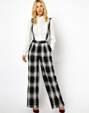 9b6219b9295b Image 1 of ASOS Wide Leg Pants in Check with Suspenders
