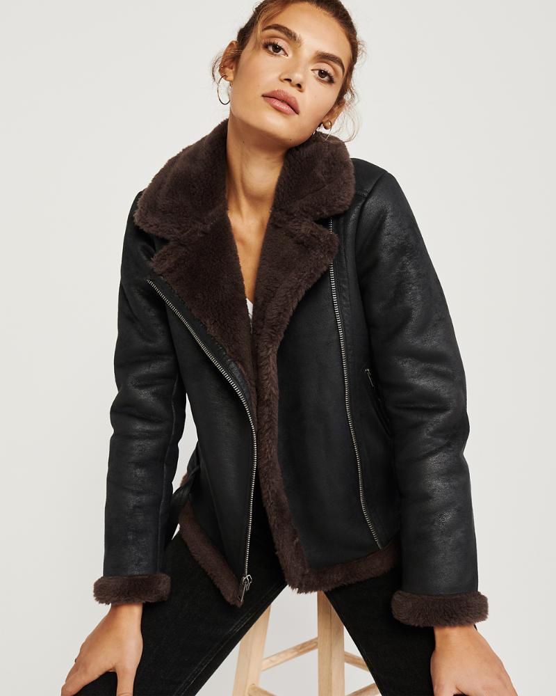 Womens Faux Shearling Moto Jacket Womens Coats & Jackets