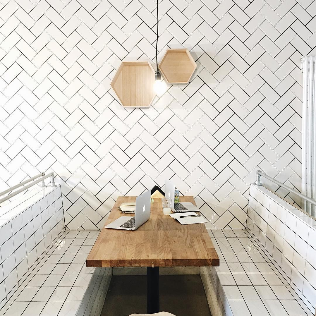 herringbone subway tiles at forever cafe in manchester | sandwhich