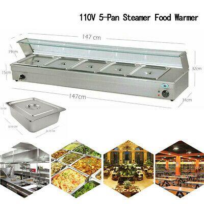 Details About 5 Pan Steamer Bain Marie Buffet Countertop 110v1500w