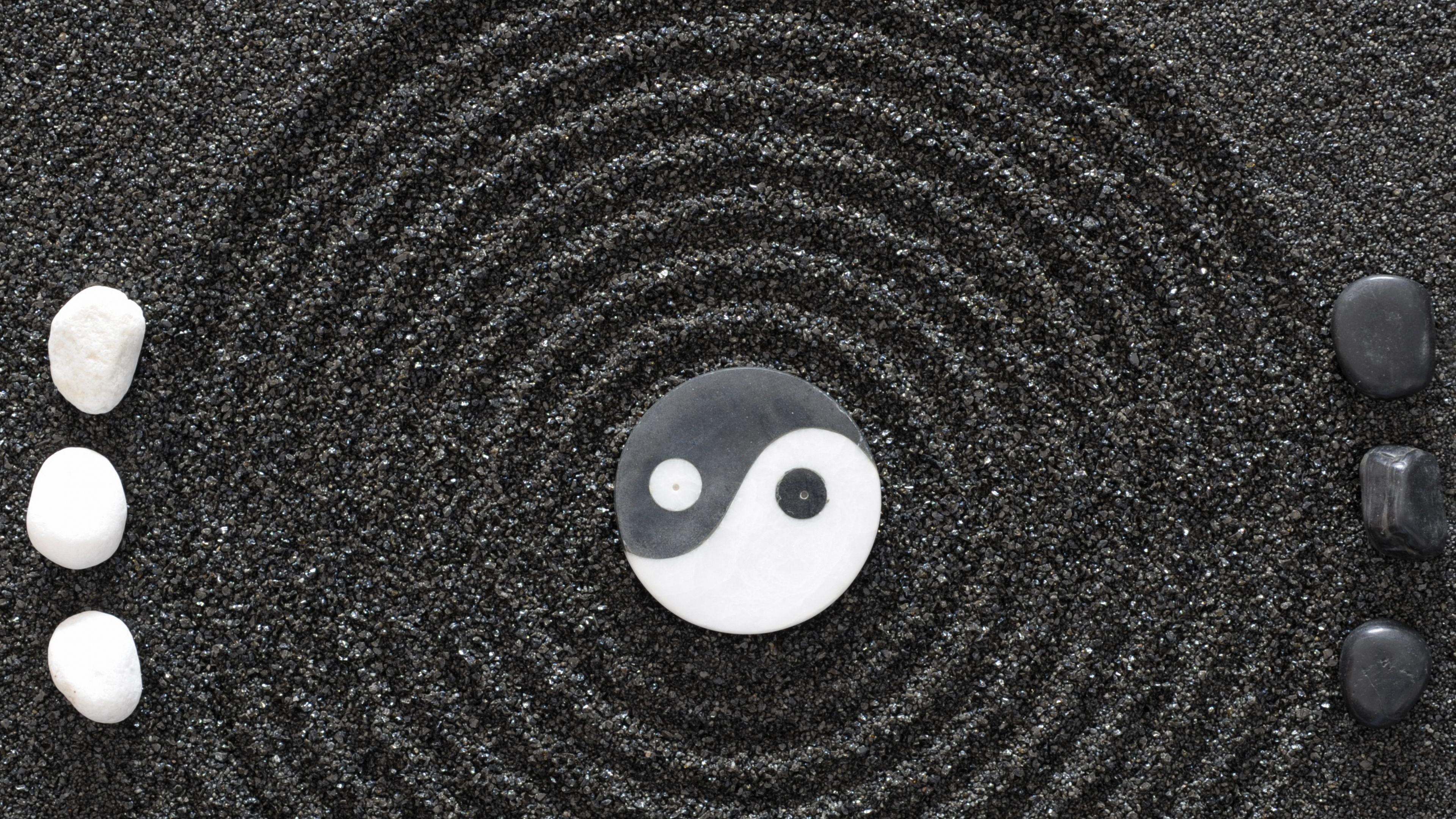 3840x2160 Wallpaper yinyang, stones, earth, symbol
