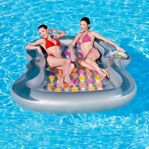 2 Person Ride Pool Float Water Swimming Inflatable Lounge Chair Raft Mattress