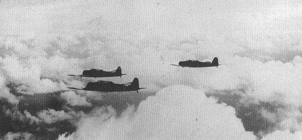 Zuikaku's B5N2 photo #5 This photos shows a Zuikaku's shotai (three planes unit) returning to its carrier.