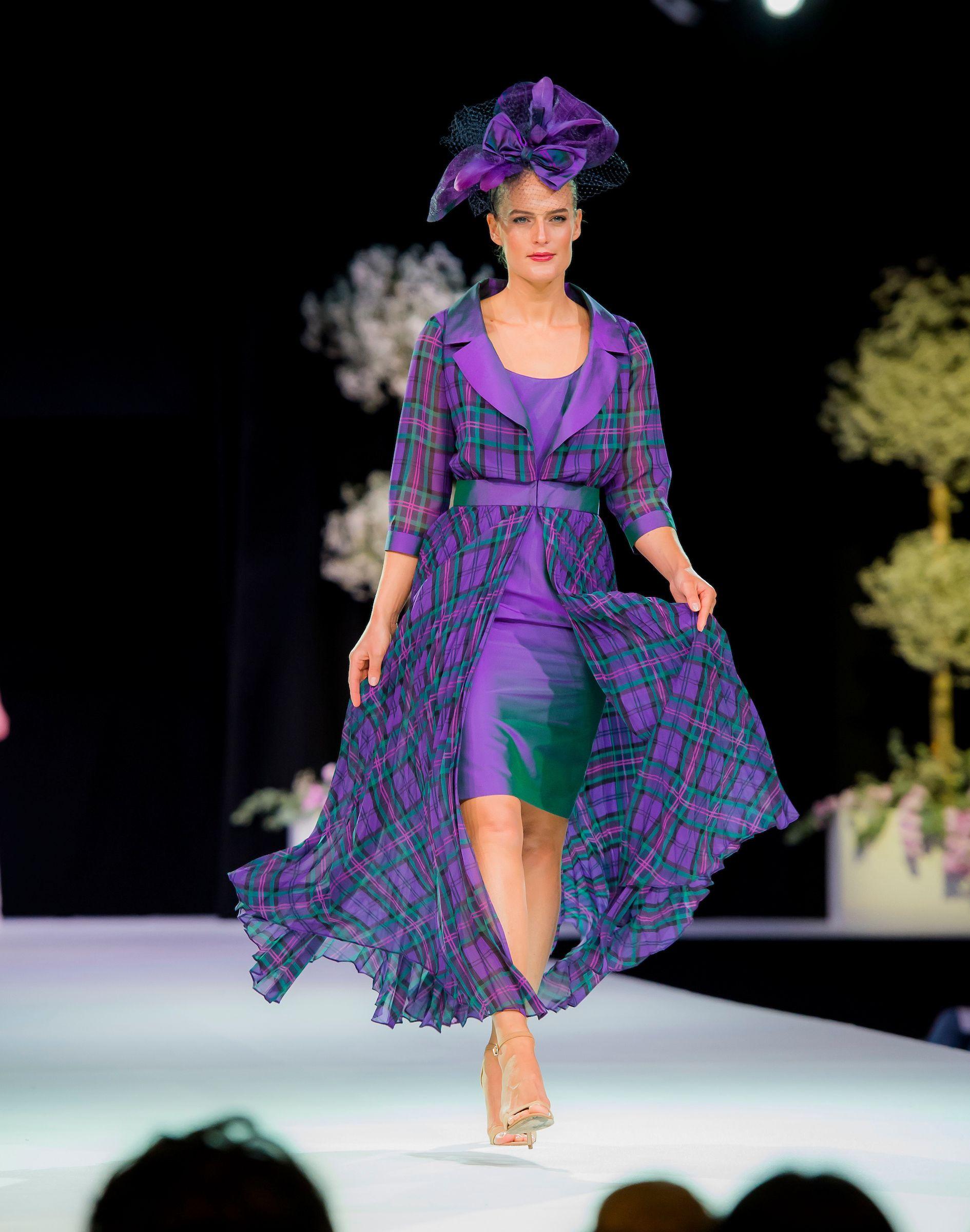 Tartan chiffon dress and coat made to measure  Bridal  Pinterest
