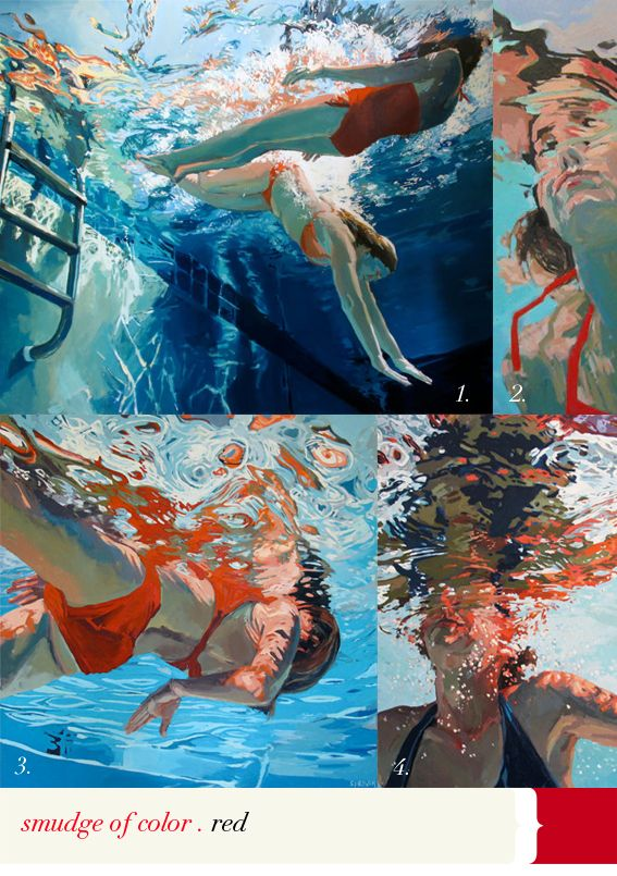 a red swimsuit… splash!
