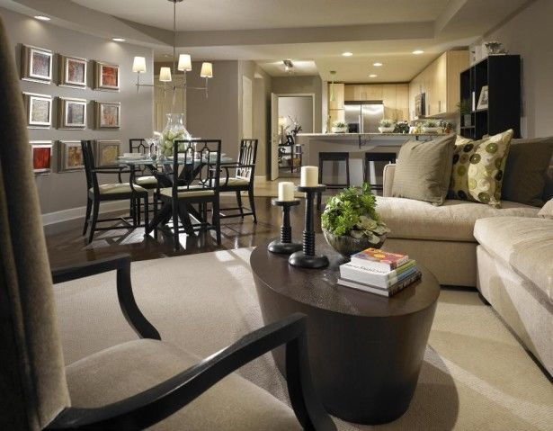 Rectangular Small Living Room Furniture Layout With Dining Room