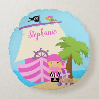 Cute Pirate Blonde Girl & A Big Ship Custom Name Round Pillow   Zazzle.com