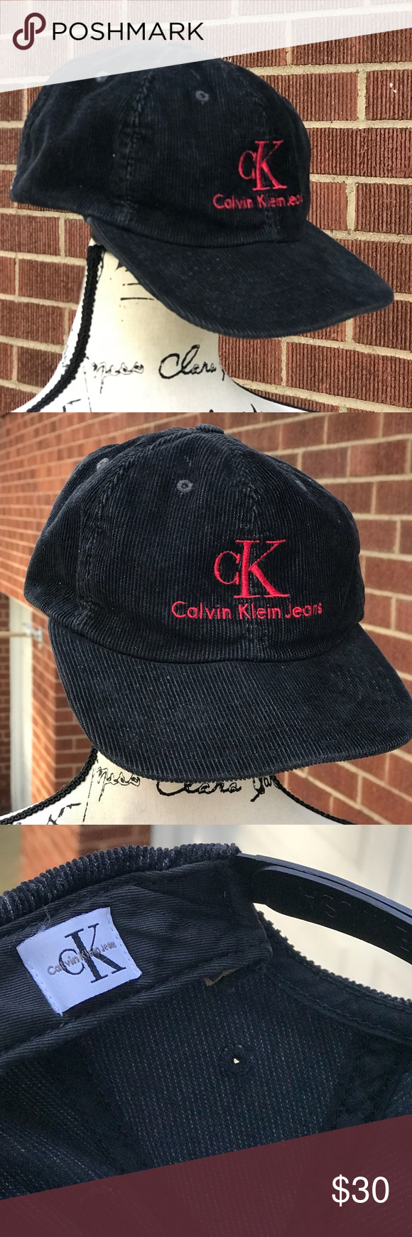 23b50066893 Vintage Calvin Klein Corduroy hat Black corduroy hat with red stitched  letters Snap back fit Calvin Klein Jeans Accessories Hats