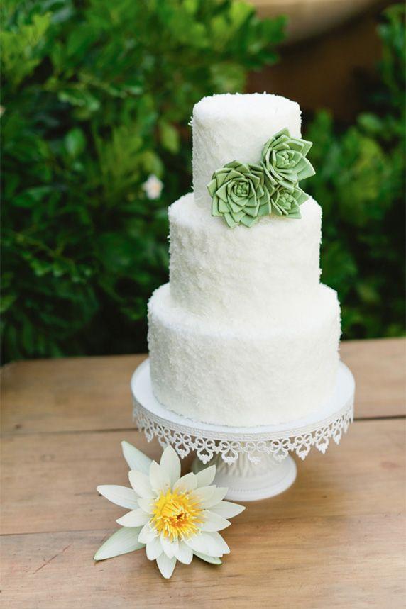 Cactus Flower White Wedding Cake Picture