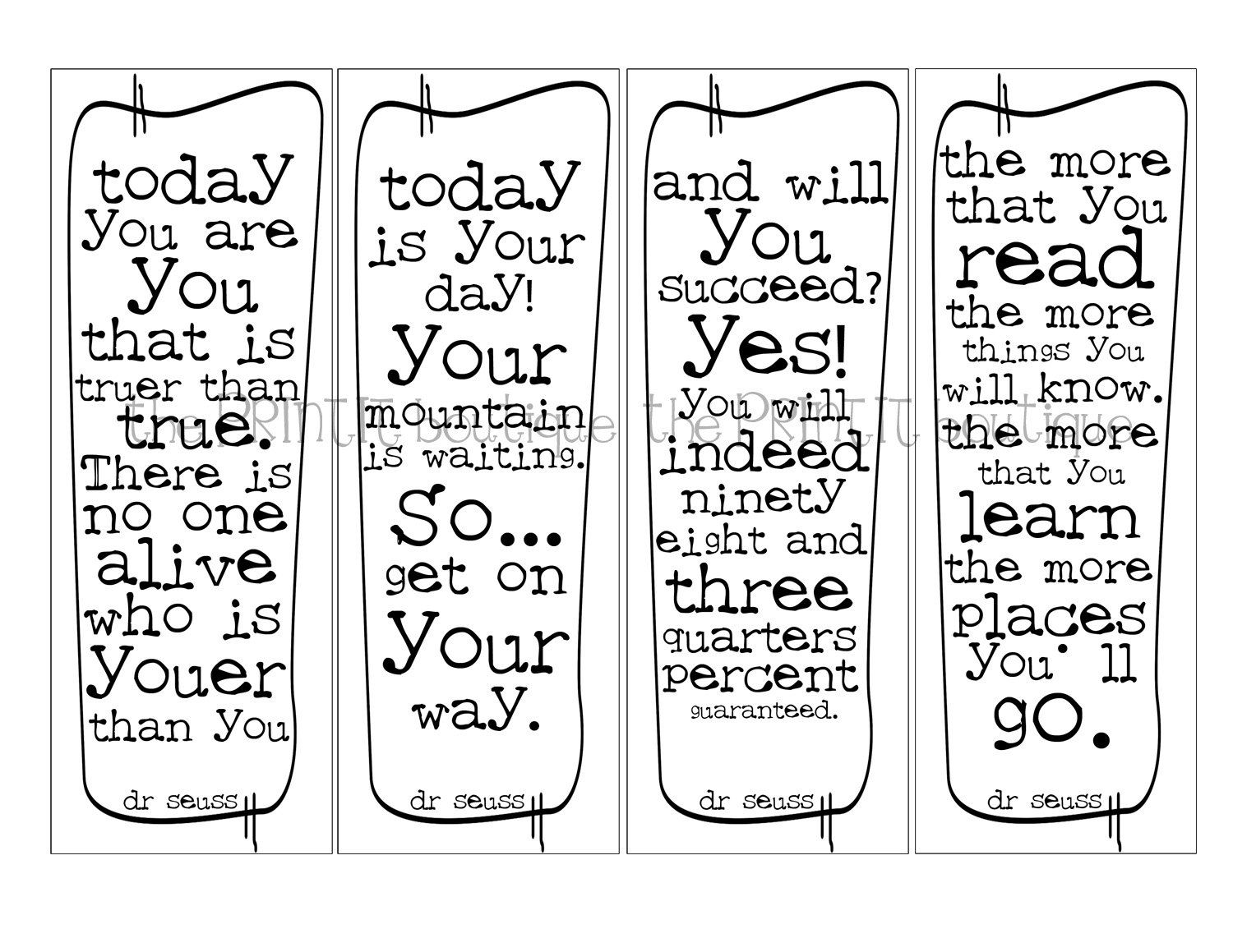 Bookmarks to color of dr king - Dr Seuss Printable Bookmark Of 20