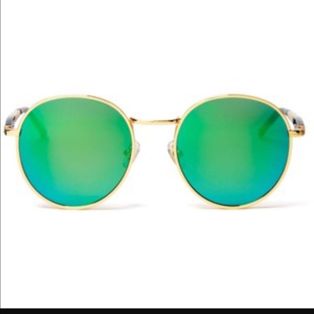 Green Blue Circle Reflective Sunglasses  2b7534fd55072