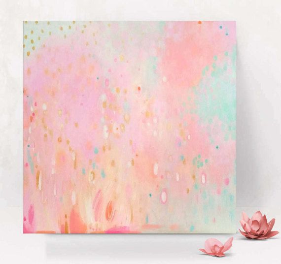 Pink Coral Aqua Gold Abstract Painting Pink Gold and Mint ...