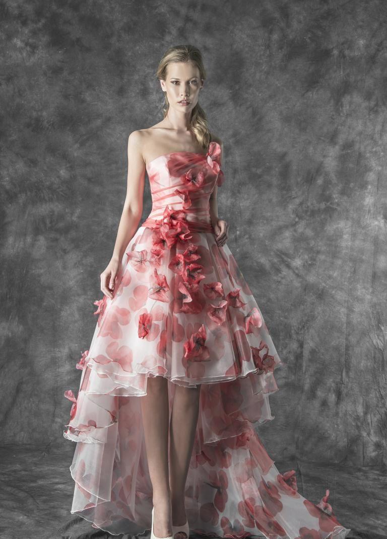 e953279870bc80 Magnani Atelier   Magnani Sposa abito da sposa corto in organza con stampa  a fiori papaveri rossi. corpino plissettato e pizzo 3d