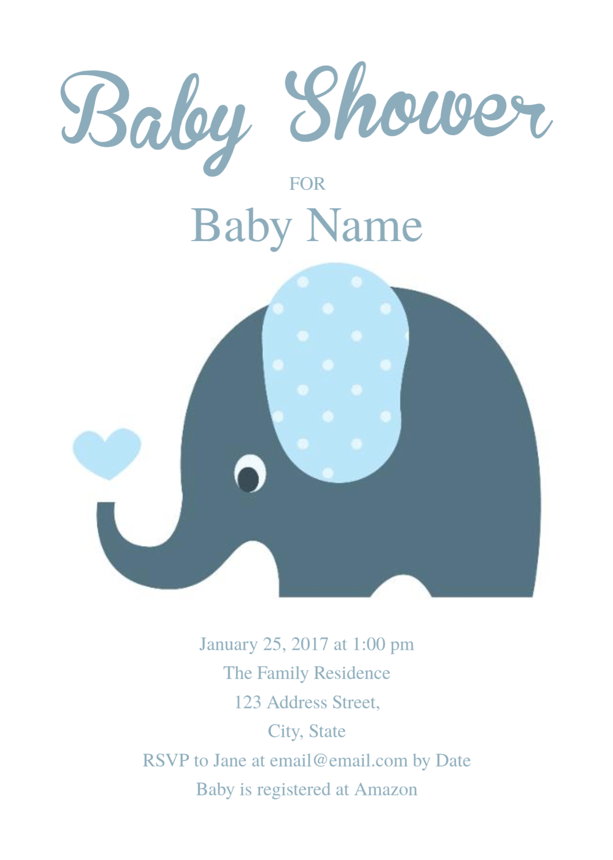 Cute Elephant Baby Shower Invitation Template