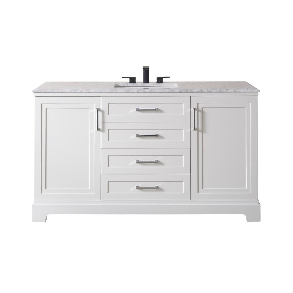 Stufurhome Idlewind 60 In Bath Vanity In White With White Marble