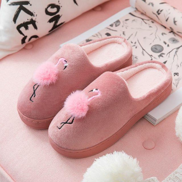 Cute Animal Flamingo Slippers Winter Warm Slippers Fur Slippers Zapatillas Andar Por Casa Non Slip Sho Zapatos De Tacón Lindos Zapatos De Tacon Cosas De Barbie