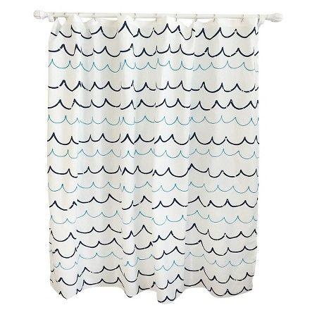 Wave Blue Shower Curtain