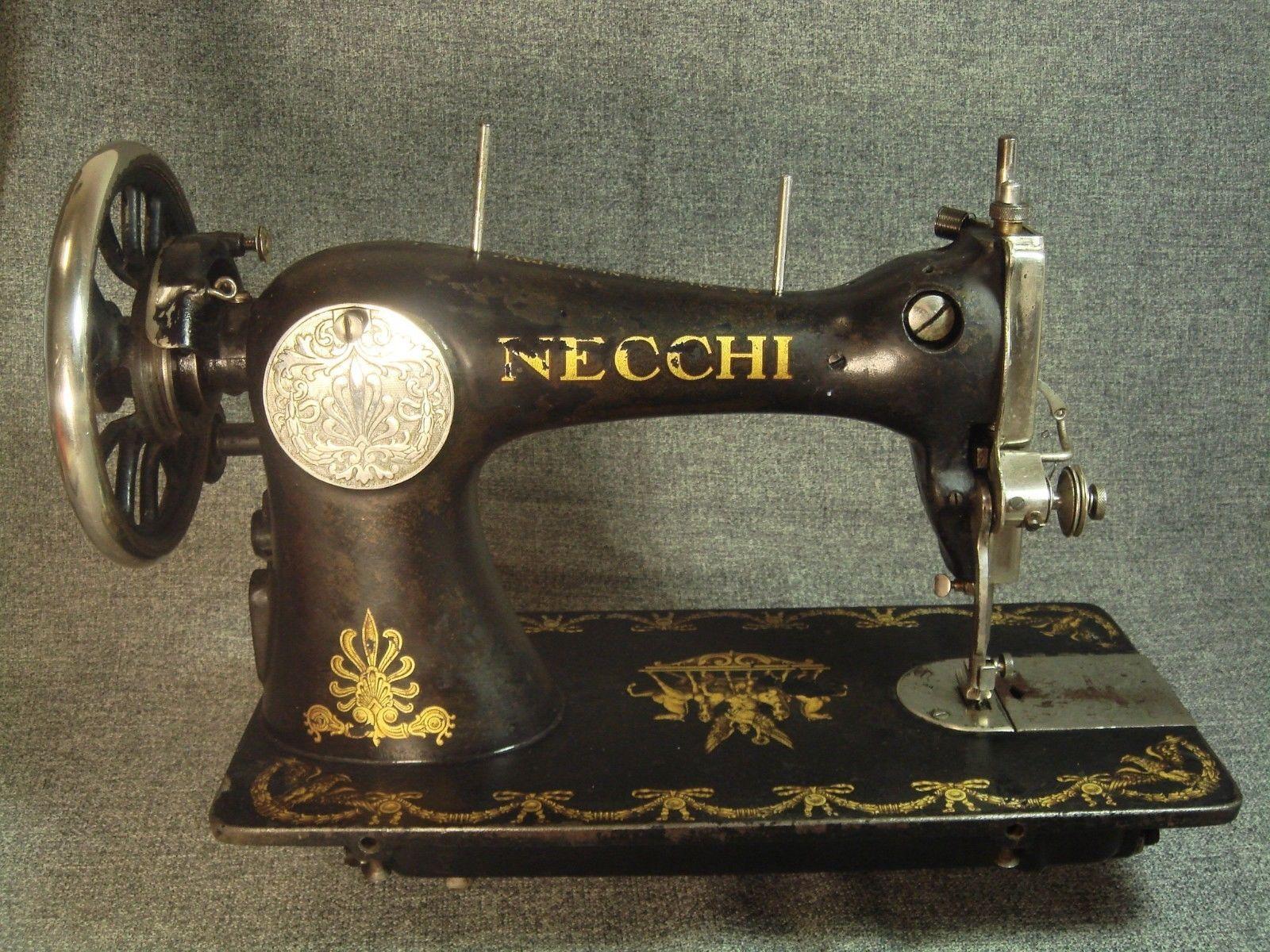 Old Antique Italian Sewing Machine 76726 Vittorio Necchi Pavia Italia 5525   eBay