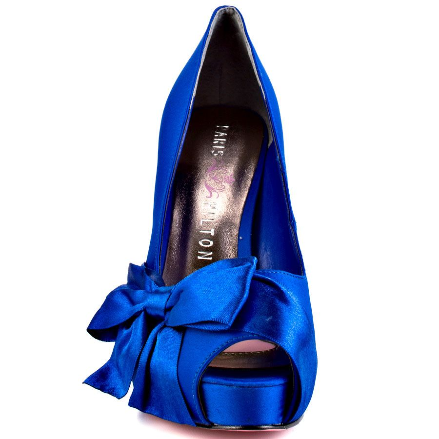 Paris hilton destiny in royal blue satin getting hitched