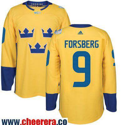 buy online 6ee18 5ae6e Men's Team Sweden #9 Filip Forsberg adidas Yellow 2016 World ...