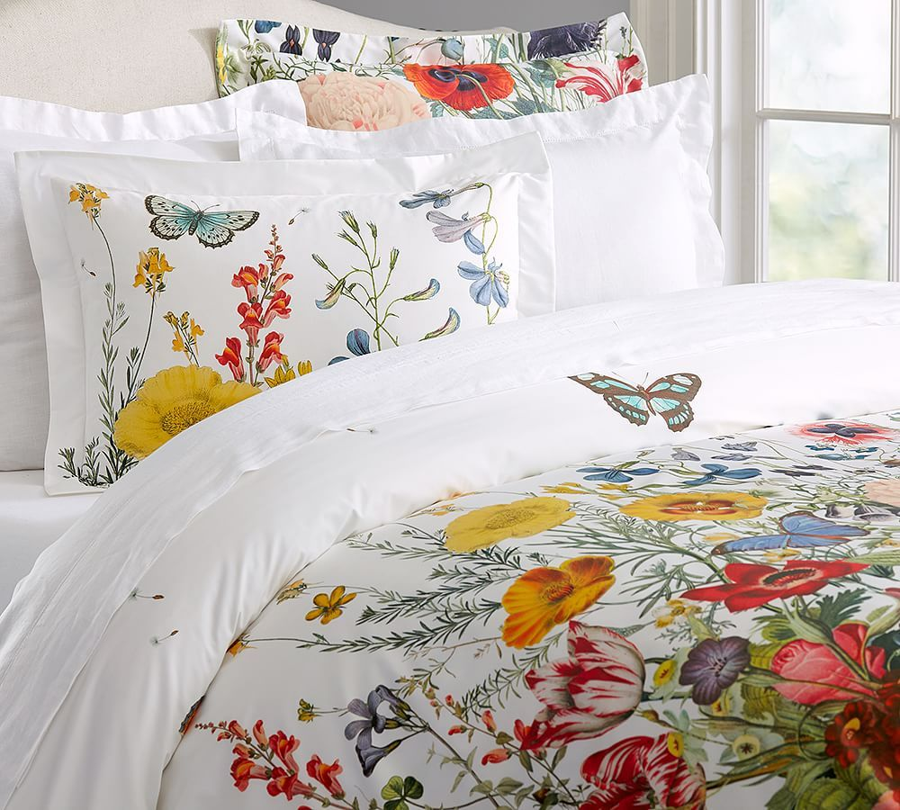 flora garden duvet cover sham pottery barn beautiful bedding