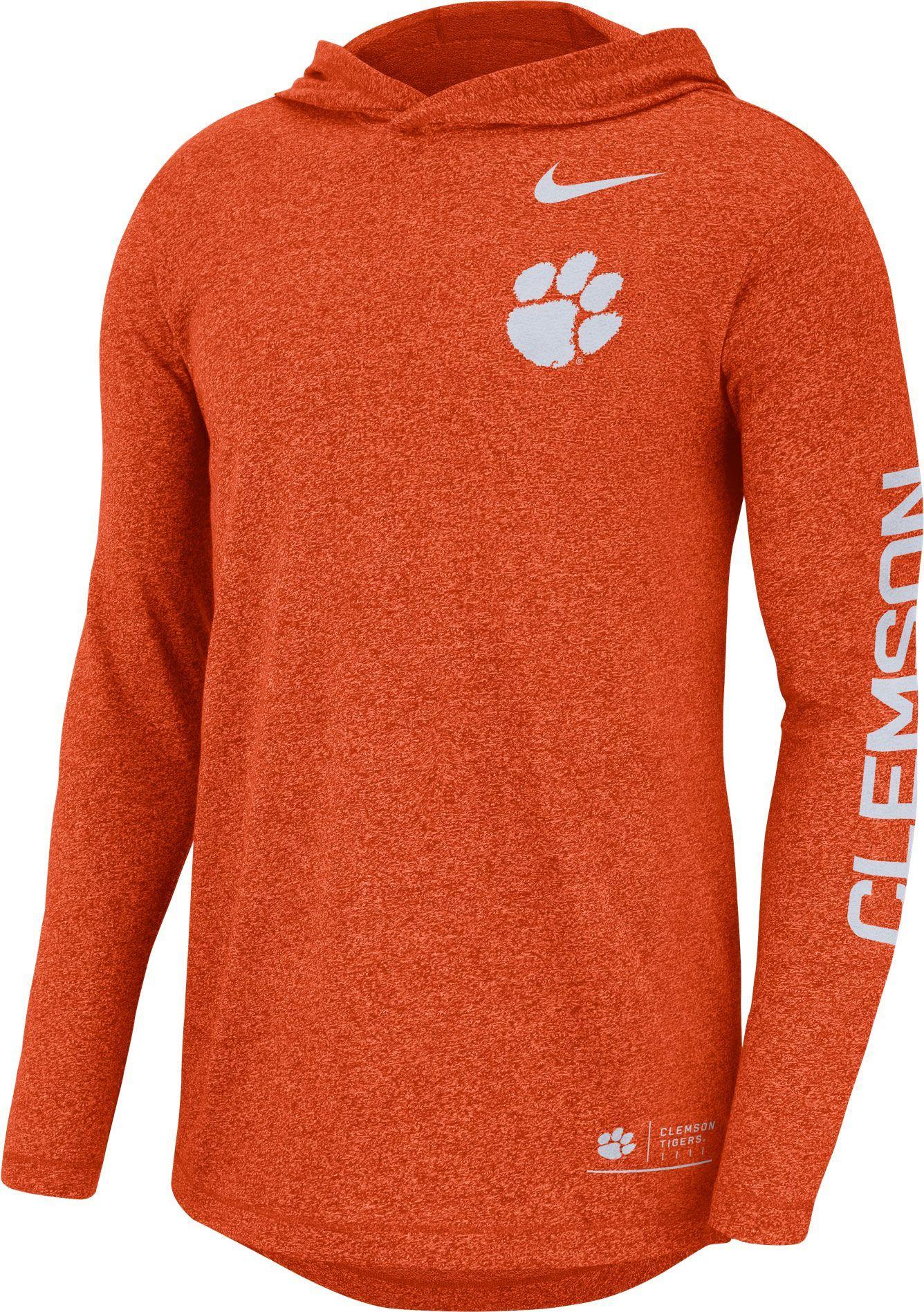 e5e380e7d Nike Men's Clemson Tigers Orange Marled Long Sleeve Hooded Sideline T-Shirt