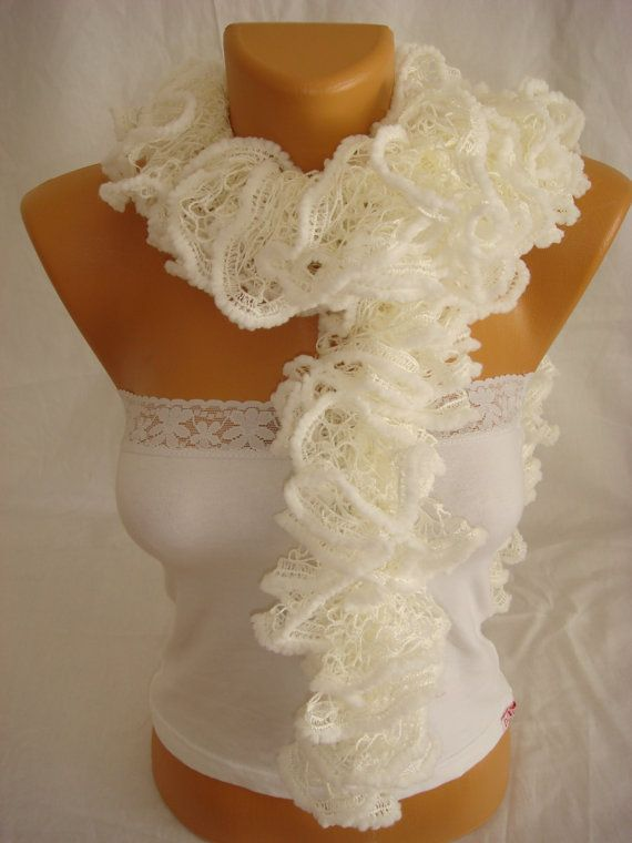 Hand knitted White ruffled scarf by Arzus on Etsy, $18.90
