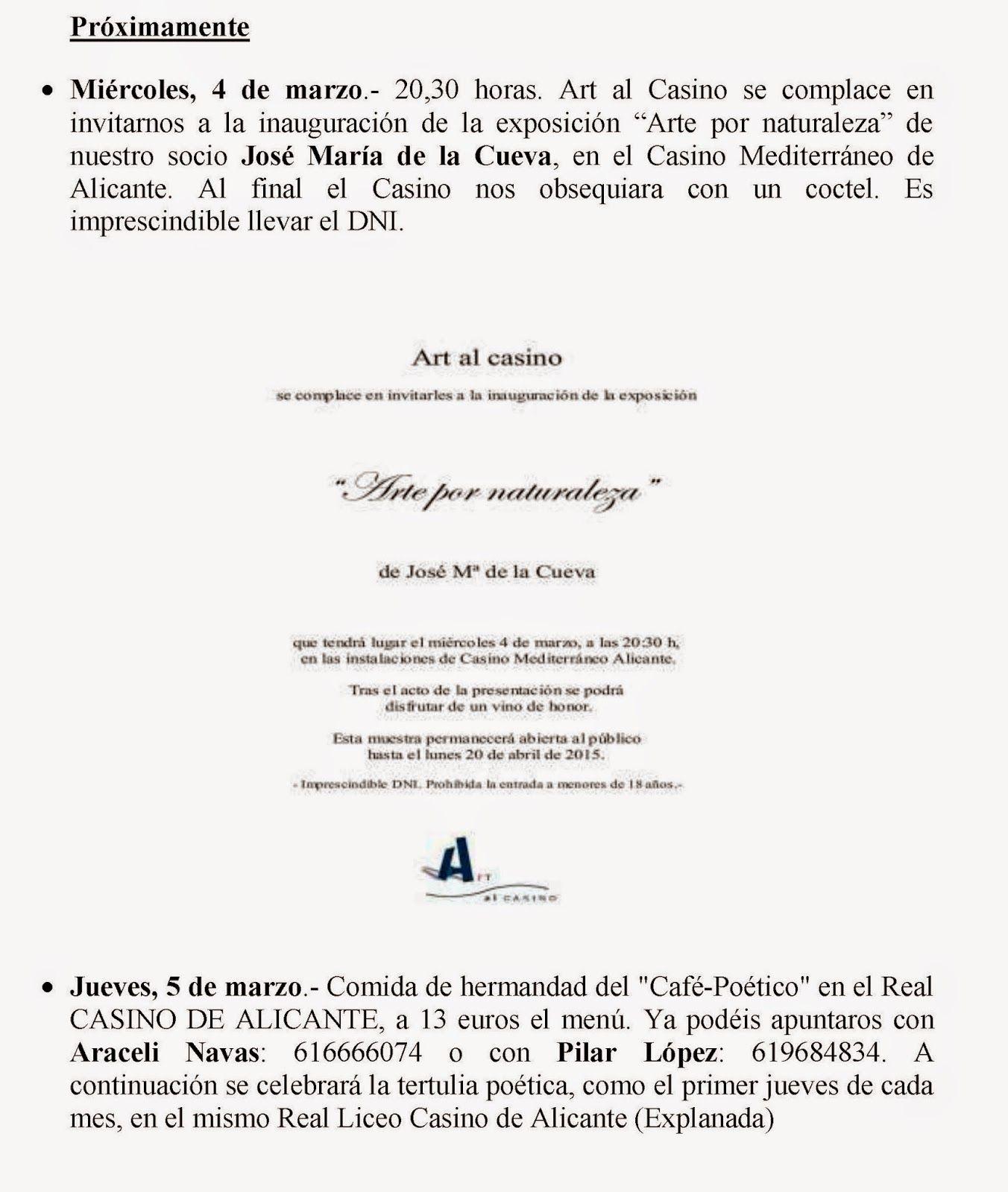 Espejo De Alicante Circular Y Proximamente Marzo 2015 Circulo Marzo Escritores