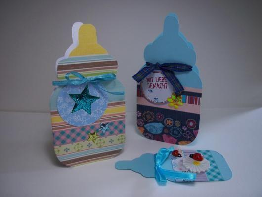 Klappkarte Babyflasche zur Geburt zum Selbstbasteln mit Vorlage auf ...