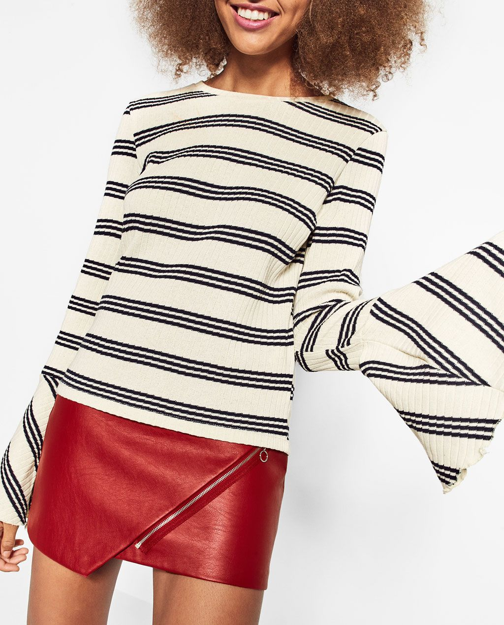 STRIPE TOP WITH RUFFLE SLEEVES from Zara | Winter Wardrobe ...
