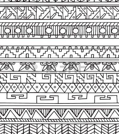 bordes mexicanos: patrón de colores sin fisuras étnico del doodle ...