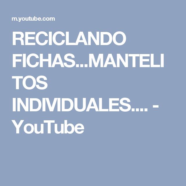 RECICLANDO FICHAS...MANTELITOS INDIVIDUALES.... - YouTube