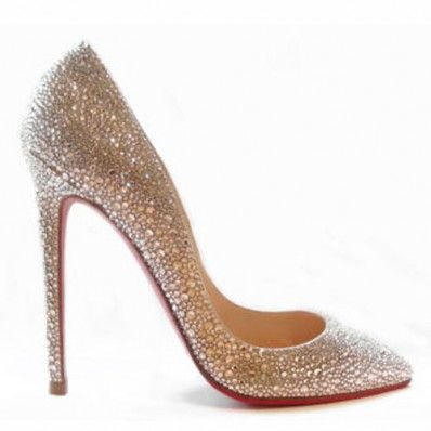 Christian Louboutin Wedding Shoes 120mm Light Peach Strass Pumps