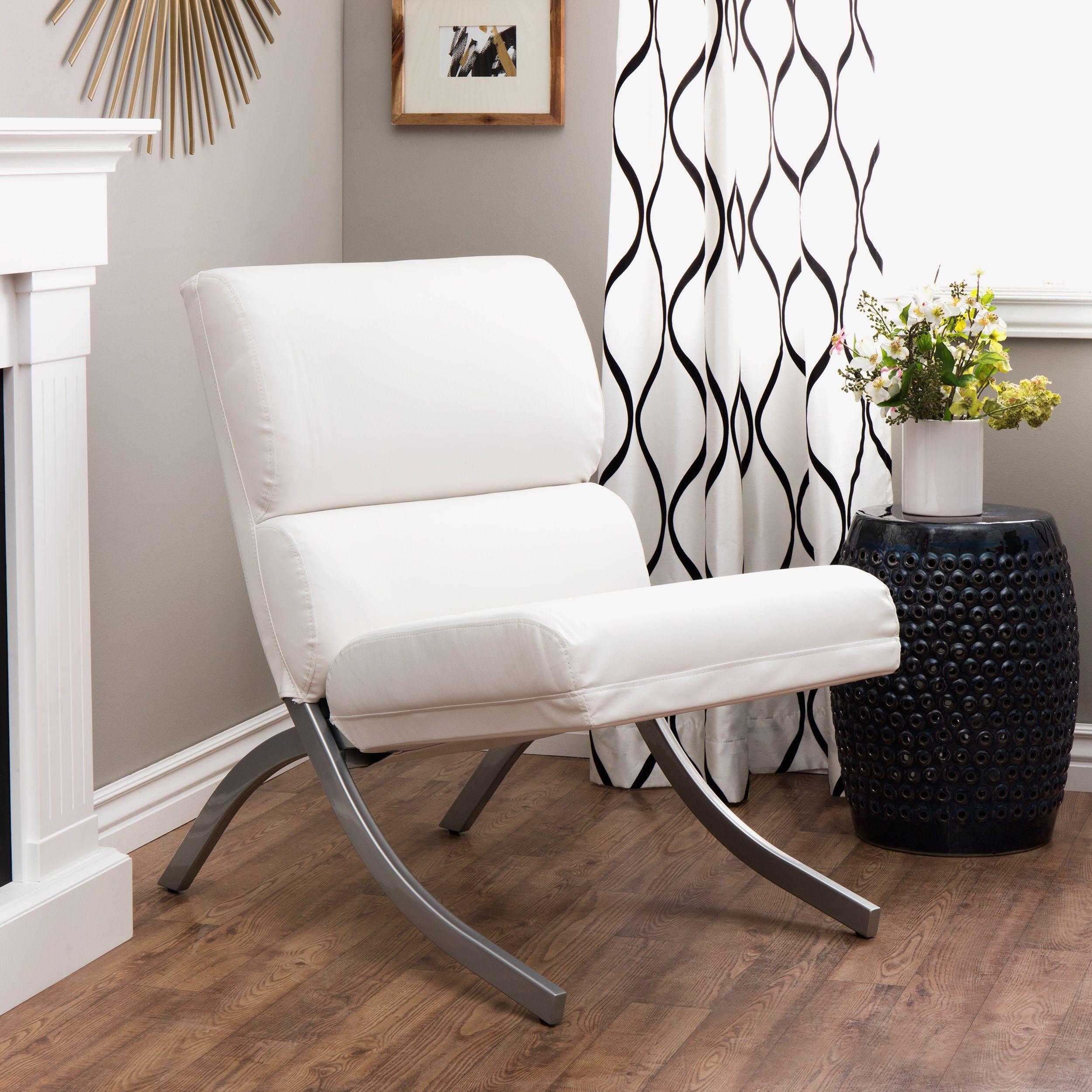 Strick & Bolton Rialto Bonded Leather White Chair ...