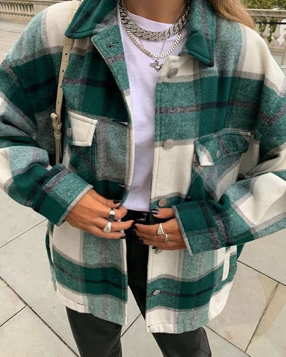 Classic Thick Colorblock Checked Button Down Shirt Jacket #winterfashion