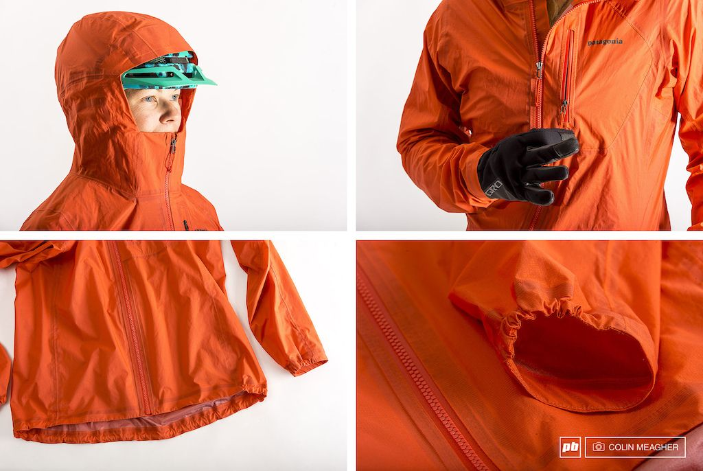 Patagonia s Storm Racer Jacket features including full helmet coverage  zippered chest pocket drop tail and half-elastic wrist cuff. 2a8652880