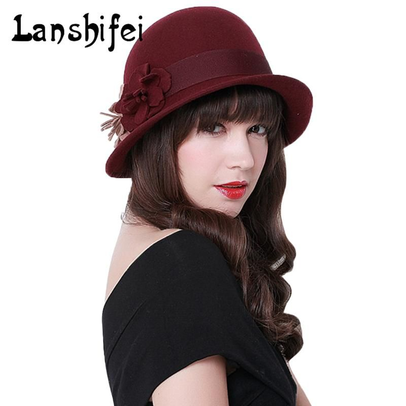 7198f393b94 2017 New Winter Cap Vintage Lady Fedoras Wool Felt Fedora Hats Women Black  Coffee Asymmetric Hat