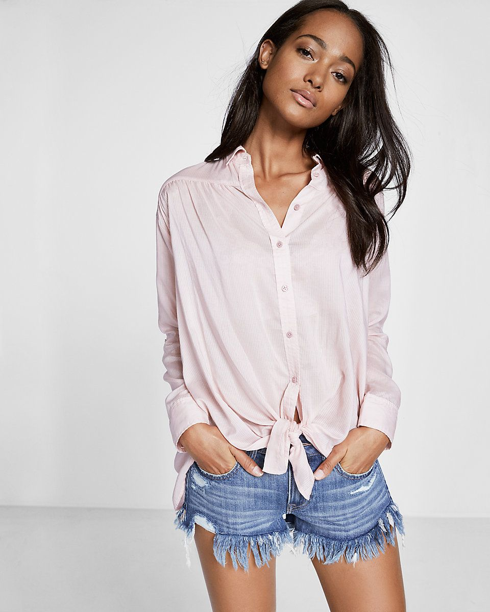 button down shirt tied in front