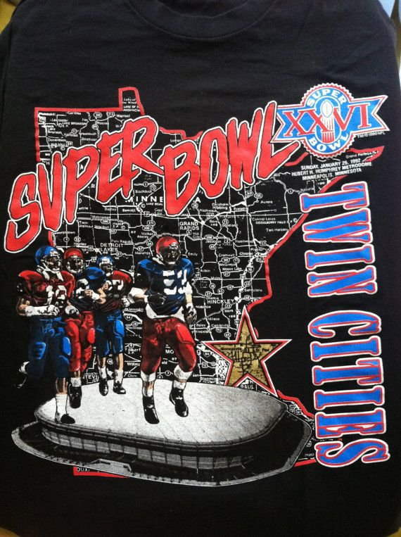 Vintage SUPER BOWL XXVI Tshirt  Original 1990 by sweetVTGtshirt ... 8e9ef40a5