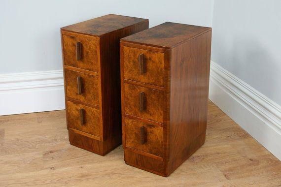 Best Pair Of Antique Art Deco Walnut Bedside Chests Circa 1930 400 x 300