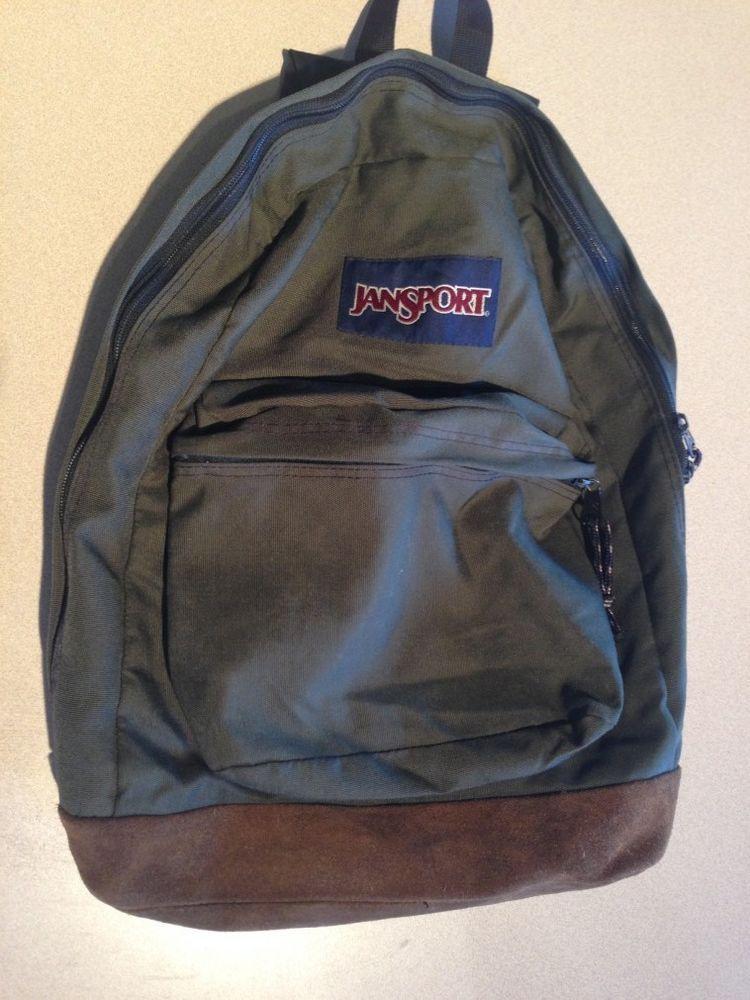 Vintage 90s Jansport Suede Leather Bottom Backpack Bookbag Army Green