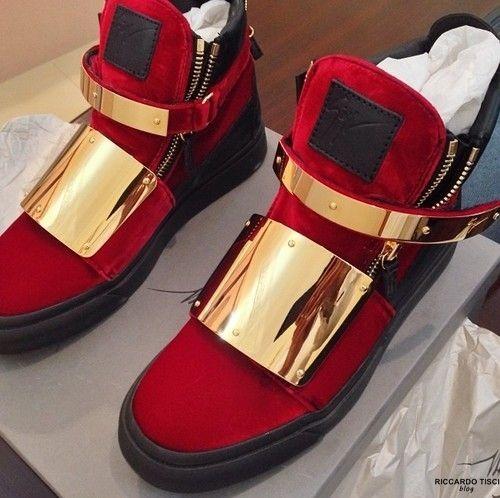 6f87bd6d33c0 Giuseppe Zanotti Red Velvet Double Gold Buckle Designer Footwear Fashion  Exclusive
