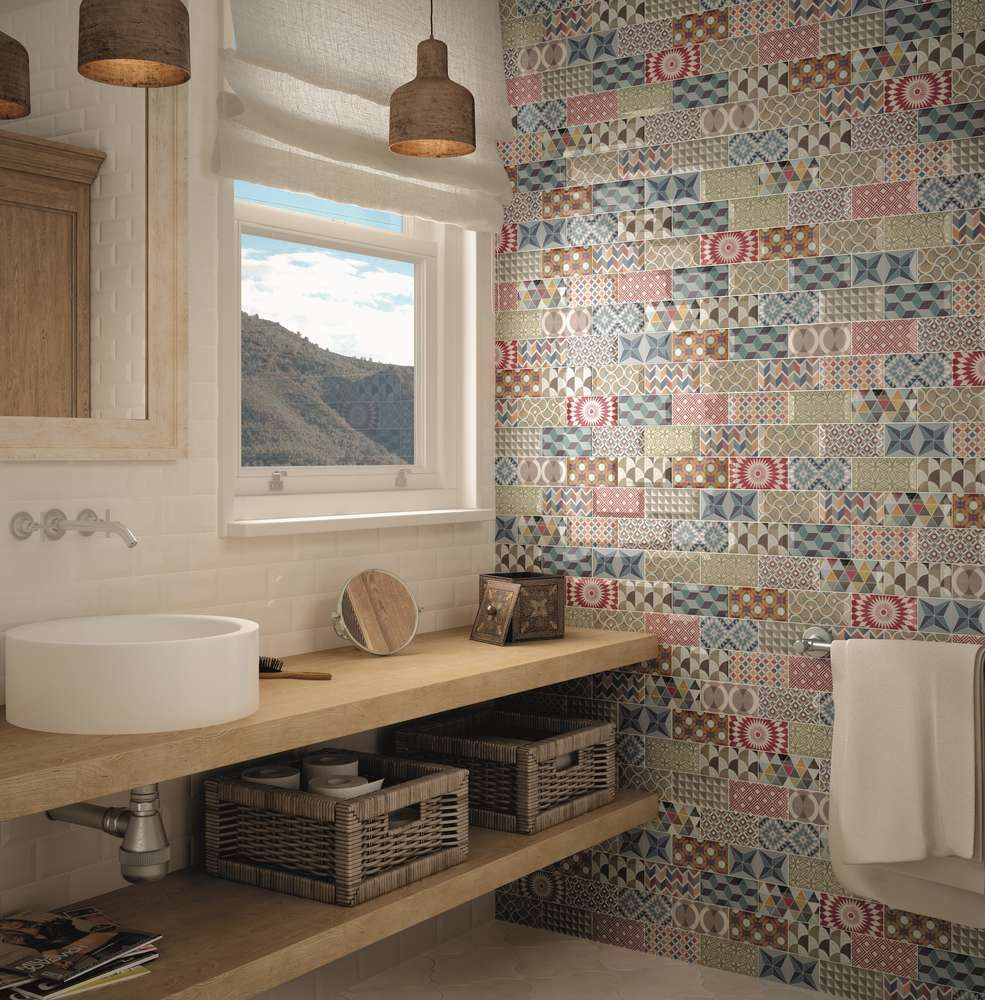 Dekorfliese equipe metro patchwork color gl nzend 7 5x15 cm set 12 st ck wohnen badezimmer for Fliesen tapete badezimmer